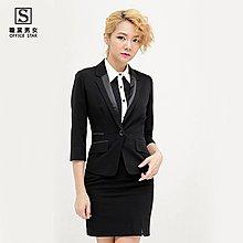 【13022】職業男女OFFICE ☆ STAR 百搭OL七分袖外套 黑/白