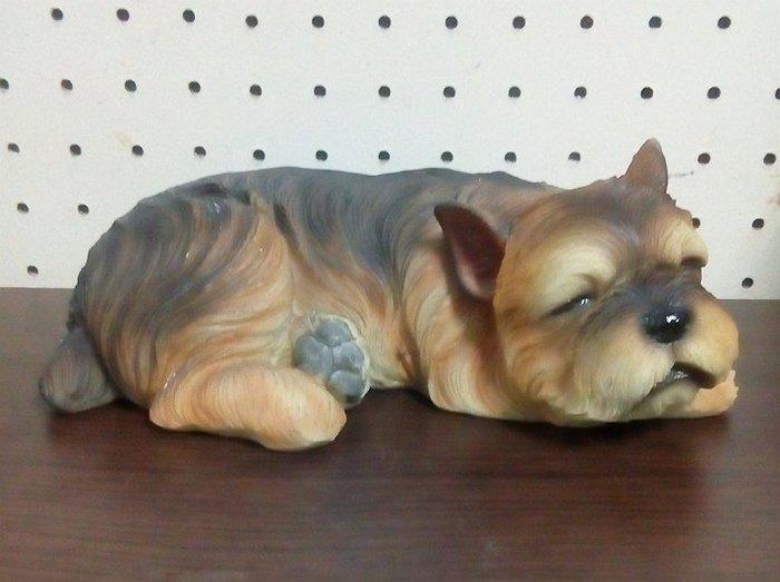 【浪漫349】貨樣品 單個價 21cm 小憩休息睡覺的約克夏 狗雕塑模型 波麗材質