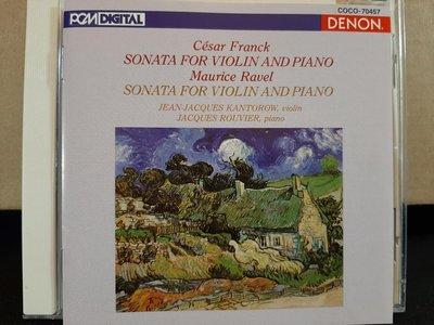 Kantorow,Franck&Ravel-V.s,卡恩多羅,佛朗克&拉維爾-小提琴奏鳴曲,日本版,如新。