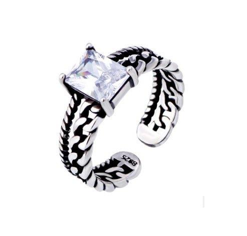 日韓時尚新款麻花泰銀白鑽戒指可調式開口活戒指