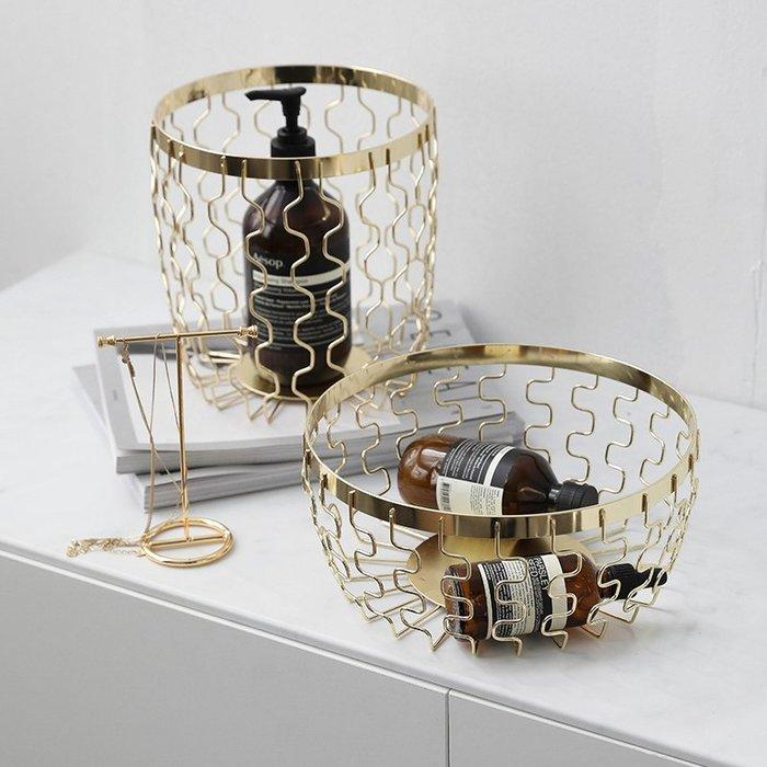 ❤公主夢❤鍍金鐵藝收納籃 擺飾 雜物籃