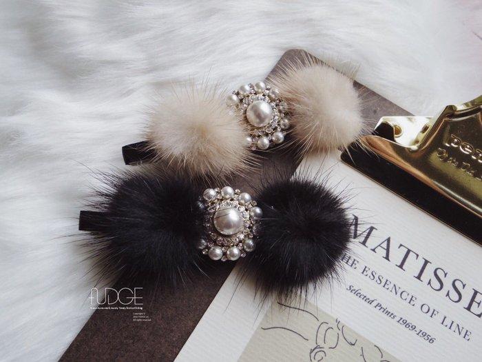 FUDGE法橘 / 正韓 復古典雅珍珠鑽飾毛毛手工髮夾[壓夾]/LH181228