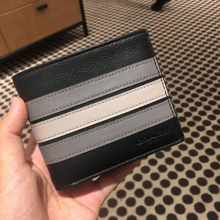 小皮美國正品代購 COACH 73629 新款男士短夾 條紋拼色對折錢夾 簡約時尚 附相片夾 附購證