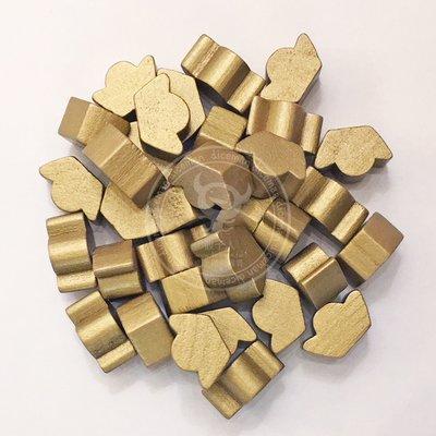 骰子人桌遊-(Wood Token)金元寶米寶 Gold ingot Meeple(單色)配件.計分.木頭.教具.金元寶
