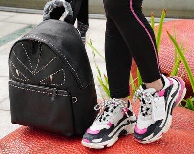 Fendi 7VZ012 Stitched Monster Eyes Backpack 限量款摩摩卯釘全皮背包 黑