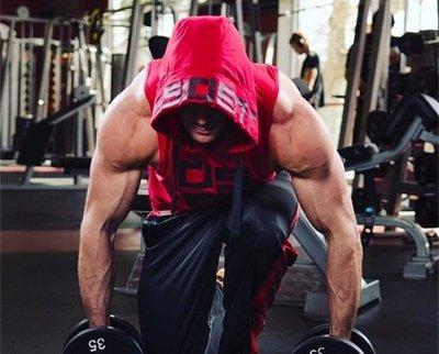 D01001 肌肉小子 dissident 連帽 健美 健身 背心 休閒 運動 - 紅色-另有黑色及白色((焦點服飾))