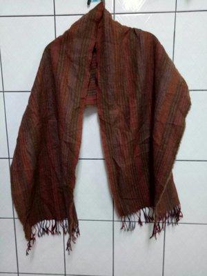(愛莎&嵐) 法國製 Descours PARTS 混色條紋純羊毛保暖圍巾