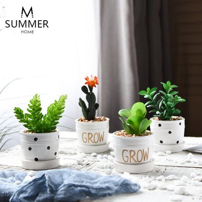高仿花北歐創意仿真植物綠植多肉盆栽仙人掌ins裝飾品小盆景桌面擺件