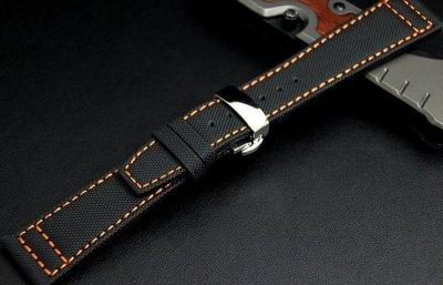 22mm強力纖維錶帶IWC pilot風格,航空飛行錶必備top gun,真皮底,最方便蝴蝶彈扣,橘色縫線