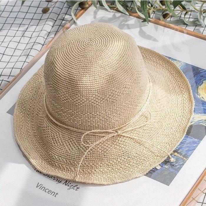 創意 服飾周邊日系特細手工草帽女春夏天防曬出游沙灘漁夫帽草編簡約遮陽可折疊