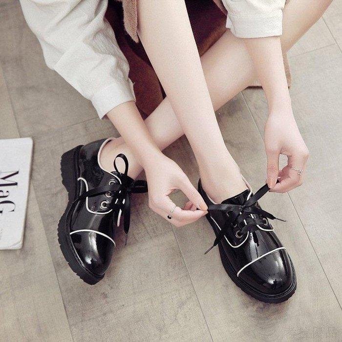 日和生活館 2019春季韓國風女學生平底單鞋百搭新款軟妹chic小皮鞋港味復古鞋子 260S88