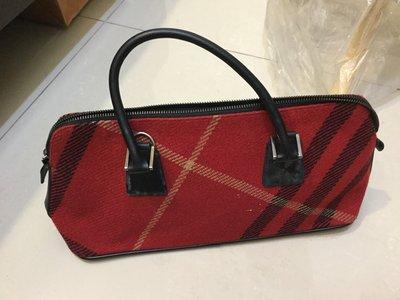 Burberry blue 紅格紋毛料提包