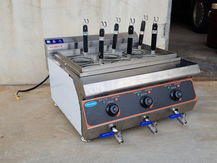 鑫忠廚房設備-餐飲設備:展場品桌上型電立式六切煮麵機-賣場有西餐爐-快速爐-烤箱-咖啡機-水槽-冰箱-電磁爐-保溫櫃