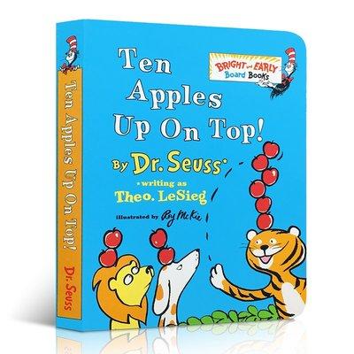 低幼適齡版 進口英文原版繪本 Ten Apples Up on Top! 蘇斯博士學會數數紙板書 Bright and