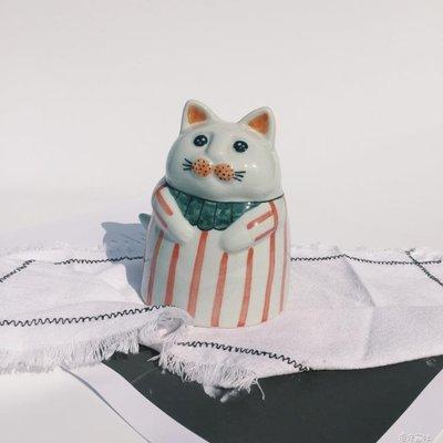 手工陶瓷文藝小清新可愛貓咪存錢罐擺件