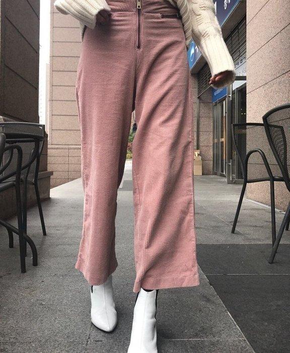 EVA精緻坊【韓國衣飾】【絨面拉鏈直筒寬褲】現貨