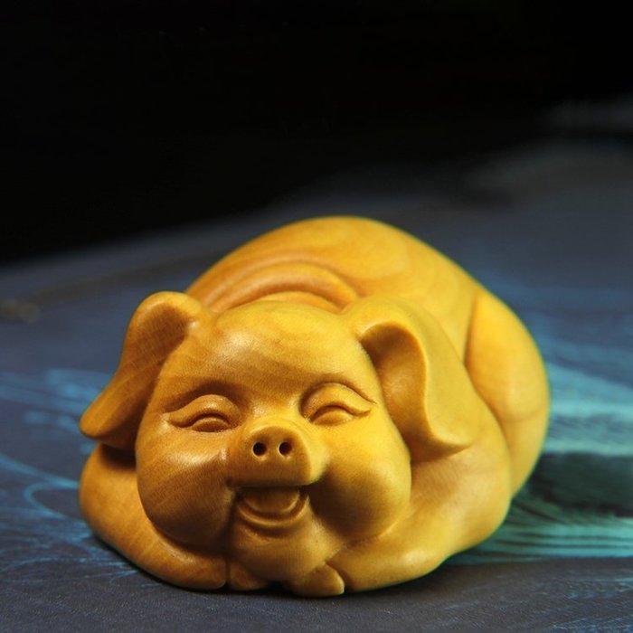 【睿智精品】黃楊木雕手把件 生肖豬 招財豬 吉祥物 小福豬 把玩件(GA-4444)