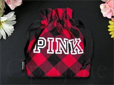 Victorias Secret VS 維多利亞的秘密 紅色格紋水桶包可愛小香水袋零錢包口紅袋小化妝包 愛COACH包包