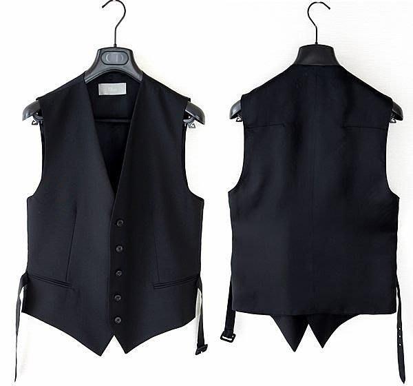 DIOR HOMME 五釦 基本款 純黑 西裝背心 size46 saint laurant