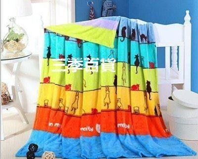 三季願望貓法蘭絨毯子學生毛毯空調毯蓋毯雙單人珊瑚絨毯床單❖774