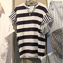 Maisobo 韓 KOREA東大門實拍 夏季柔軟網紗拼接條紋短袖上衣 X-4 預購