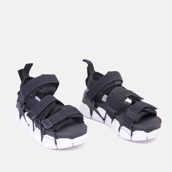 創意夏季女鞋 歐洲站女鞋夏季新款歐貨布面魔術貼拼色厚底露趾個性運動涼鞋