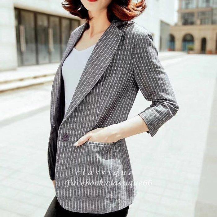 灰色日式條紋顯瘦小西裝女外套 春夏休閒棉麻七分袖西外 [Classique*真經典] 041101