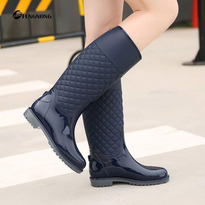 雨鞋雨靴 水鞋長筒修身顯瘦防滑防水長靴/馬靴/韓國官網同步精緻菱格新款