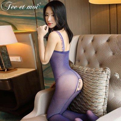 【伊性坊】情趣內衣女裝制服誘惑閃光包芯絲透視開檔性感連身襪薄紗透視露乳角色服生日禮物7513