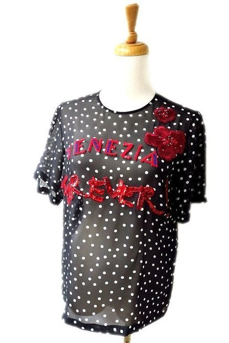 *Beauty*D&G黑色雪紡紗亮片繡花襯衫36號 9800  元WE17