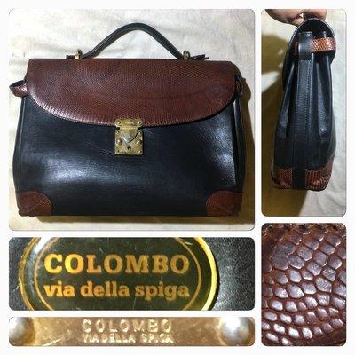 低價起標~義大利製COLOMBO 真皮蜥蜴皮手提包 真皮公事包 專業人士最愛款 古董包 可側背 缺背帶