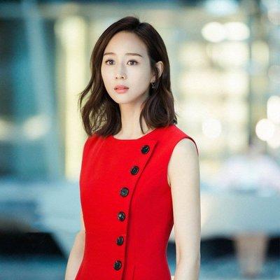質優  溫暖的弦 明星同款 張鈞甯 紅色單排扣無袖韓版修身顯瘦連衣裙