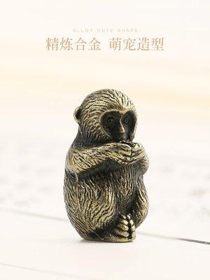 仿古銅十二生肖猴香托小動物擺件香插迷你香爐線香熏香爐茶寵裝飾