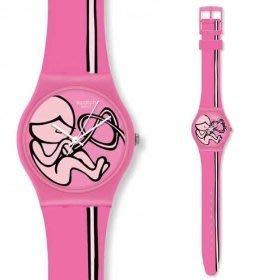 [永達利鐘錶 ] swatch 粉色線條藝術膠帶錶 GZ242 原廠公司保固24個月 35mm
