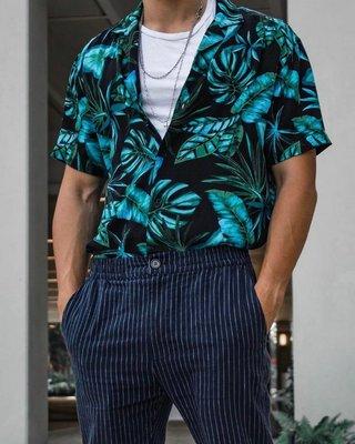 Cover Taiwan 官方直營 花襯衫 海灘 嘻哈 短袖襯衫 寬鬆 刺青 黑色 藍色 頑童 瘦子 ESO (預購)