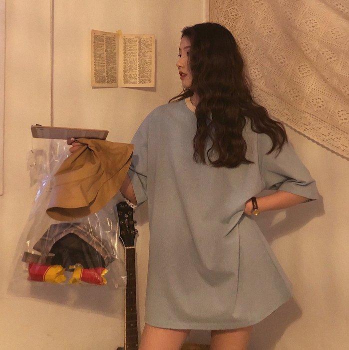 夏季女裝短袖T恤 jmwomen港風寬松中長款T恤裙女夏季新款韓版少女短袖體恤上衣