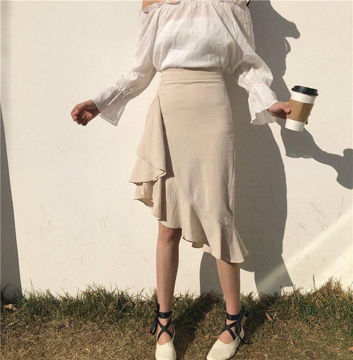 SeyeS MINI 復古率性女孩基本款韓系斜角魚尾裙