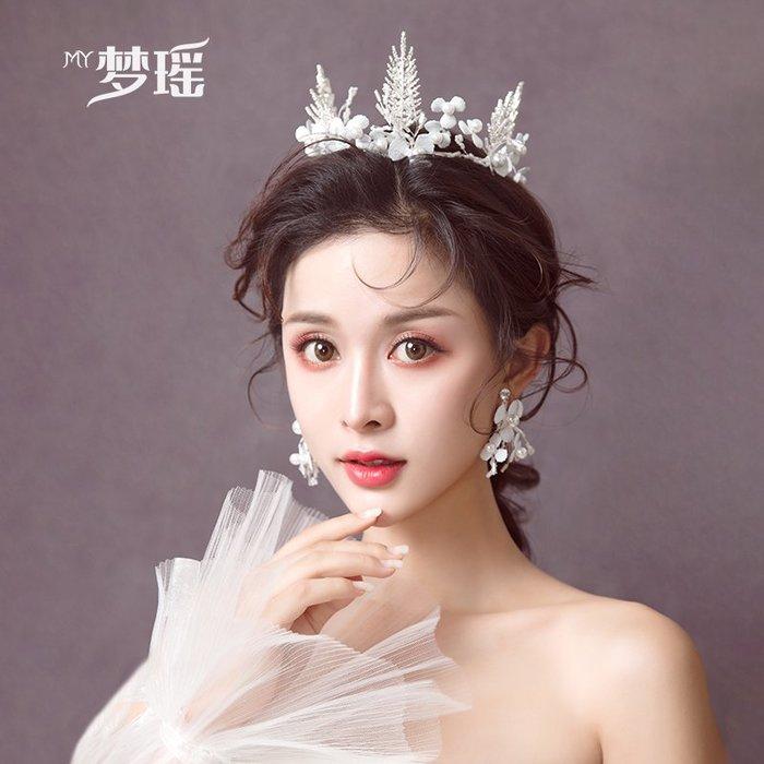 西柚姑娘雜貨鋪☛熱賣中#韓式白色仙女皇冠手工水鉆花朵氣質結婚教堂禮服拍照發飾