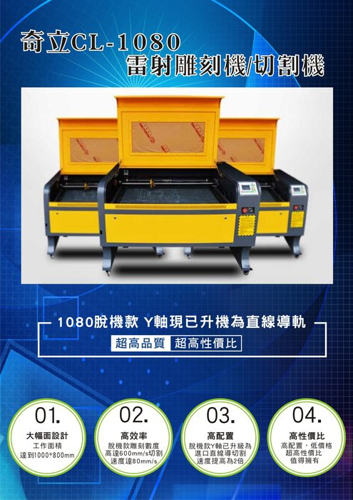 CL 1080-100W 高規脫機型 雷射雕刻切割機 含冰水機(原價200000元)95成新特價110000元