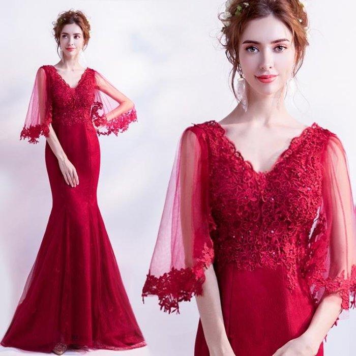 天使嫁衣 飄逸性感蝴蝶袖 紅色新娘婚紗禮服長袖敬酒服129t