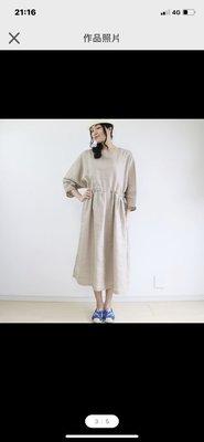 100%亞麻杜曼袖手作洋裝 日本手工製 二手9成新 pinkoi
