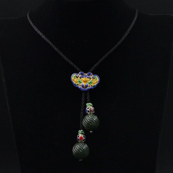 【四季】六十年代北京玉器廠天然碧玉斜紋珠配925銀鍍金燒藍配件繩藝項鏈