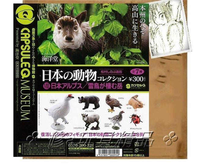 ✤ 修a玩具精品 ✤ ☾日本扭蛋☽ 海洋堂 精致扭蛋 日本動物大集合 第8彈 日本出現阿爾卑斯高原的動物 全7款