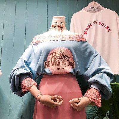 韓國2018春裝新款一字領露肩上衣字母印花拼接蕾絲邊衛衣