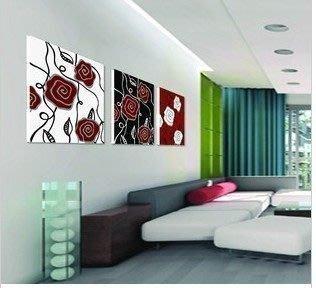 【優上精品】玫瑰花抽象壁畫現代簡約客廳裝飾畫沙發背景墻無框畫三聯畫1(Z-P3246)