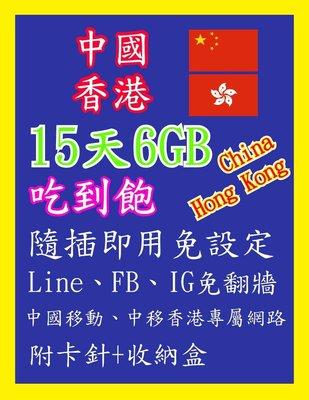 中國網卡 香港網卡 15天 6GB 免翻牆 高速上網 隨插即用 吃到飽 中國 香港 網卡 上網卡 旅遊卡 sim卡