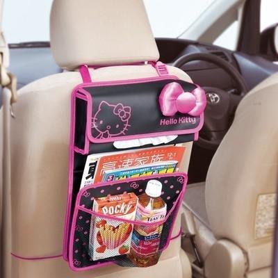 【三元】日本 Hello Kitty凱蒂貓 黑底粉邊 椅背掛式 多功能 汽車用收納袋 飲料 置物袋 面紙套