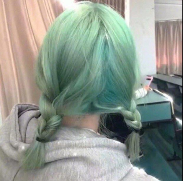 Q806-韓國可愛女生假髮全頭套綠色空氣劉海直發款鎖骨發甜美修臉假髮套#新款發色#
