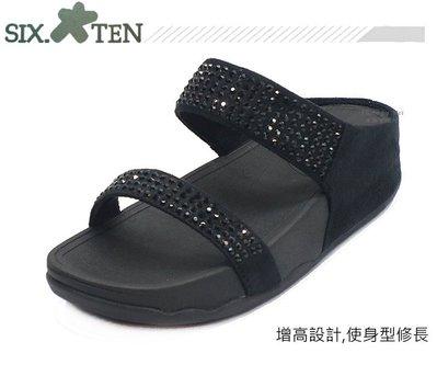 SIX TEN  女款亮鑽面厚底休閒拖鞋 (W8533  黑)