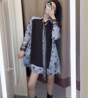 PapaDarling 19SS 獨創設計款法式甜美氣質蝴蝶結長袖襯衫 連身裙 襯裙 藍色 粉色